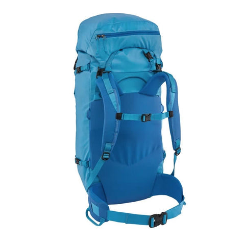 Patagonia Ascensionist climbing mountaineering pack 55 litres in use joya blue harness view