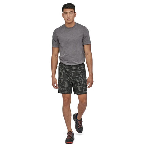 "Patagonia Men's Nine Trails Running Shorts with liner 8"" in use front view"