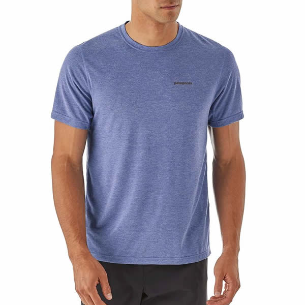 9f4bef58353d03 Patagonia Mens Short Sleeve Nine Trails Running T-Shirt front view in use  ...