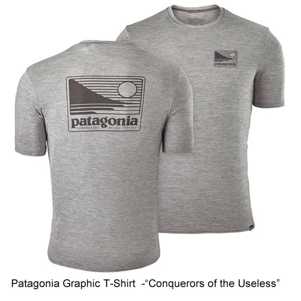 Patagonia Mens Graphic Capilene daily t-shirt feather grey conquerors of the useless