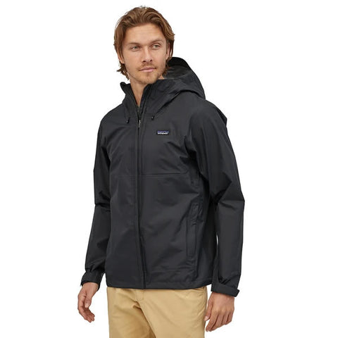 Patatagonia mens torrentshell jacket 3 layer mens black in use front view