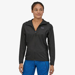 Patagonia Women's Houdini Wind Jacket in use Black front view