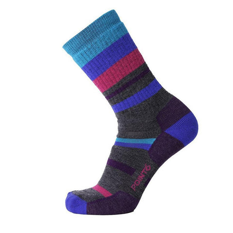 Point6 Mixed Stripe Medium Sock Hiking Merino Blend