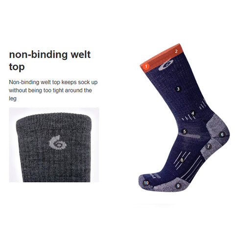 Point6 Sock Features Non-binding welt top
