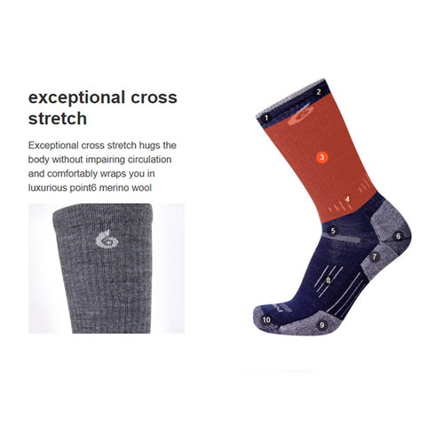 Point6 Sock Features exceptional cross stretch