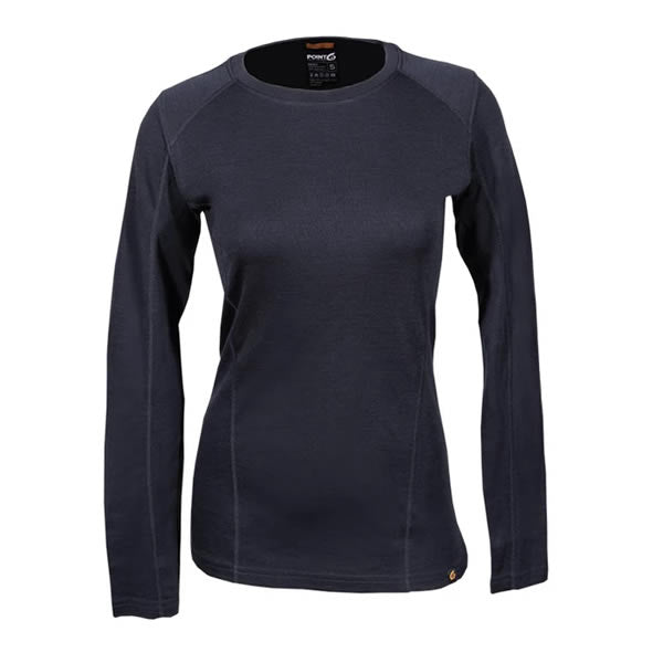 Point6 Women's Long Sleeve Crew Merino Top Black front