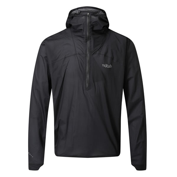 Rab Men's Phantom Pull-On Lightweight Waterproof Pullover Black Front View