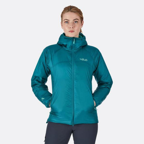Rab Women's Xenon Hoody Insulated Jacket Outdoor Gear Lab Editor's Choice Award in use front view