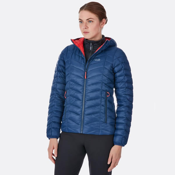 Rab Women's Nimbus Insulated Synthetic Jacket in use front view Deep Ink/Passata