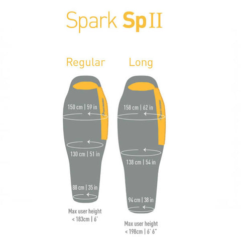 Sea to Summit Spark SPII SP2 Ultralight Sleeping Bag dimensions