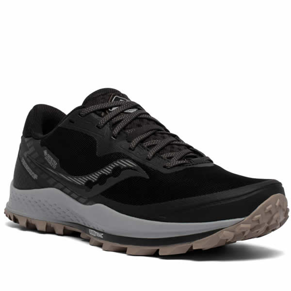 Saucony Men's Gore-Tex Trail Running Shoe black gravel diagonal view