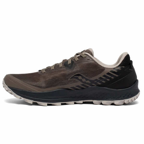 Saucony Men's Peregrine 11 Wide Gravel Black Trail Running Shoe side view