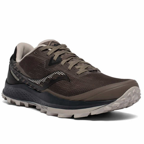 Saucony Men's Peregrine 11 Wide Gravel Black Trail Running Shoe Diagonal View