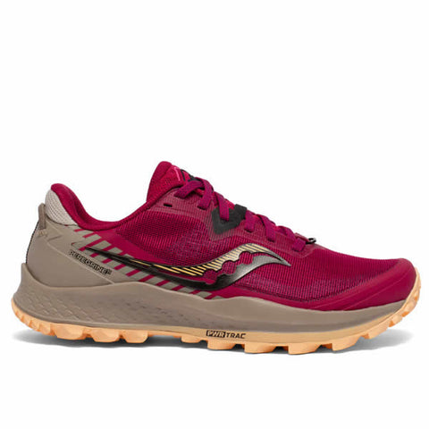 Saucony Peregrine Women's Trail Running Shoe Cherry Gravel side view