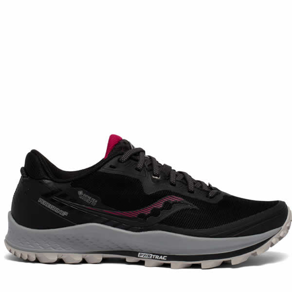 Saucony Womens Peregrine 11 Goretex womens trail running shoe black cherry side view