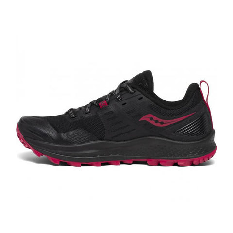 Saucony Women's Peregrine 10 Trail Running Shoe Black Barberry instep view