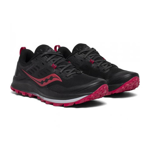 Saucony Women's Peregrine 10 Trail Running Shoe Black Barberry pair view