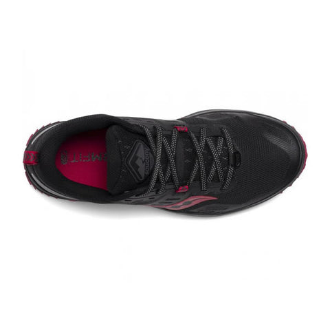 Saucony Women's Peregrine 10 Trail Running Shoe Black Barberry top view