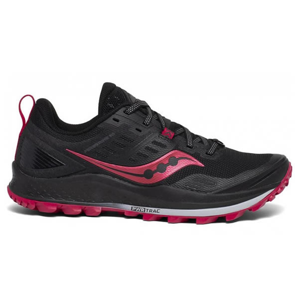 Saucony Women's Peregrine 10 Trail Running Shoe Black Barberry Side View