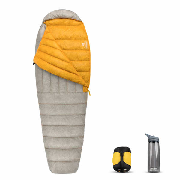Sea to Summit Spark 1 Down Sleeping Bag with it packed away next to water bottle