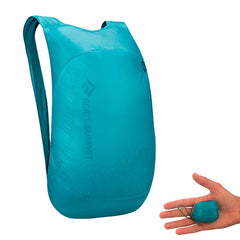 Sea to Summit Ultra Sil Nano Daypack Blue with packed away on hand size