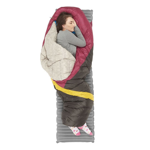 Sierra Designs Cloud 800 Women's -3 degrees 800 FP Down Zipperless Sleeping Bag side sleeping with feet and shouders out