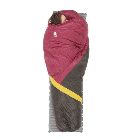 Sierra Designs Cloud 800 Women's -3 degrees 800 FP Down Zipperless Sleeping Bag in use on mat side sleeping