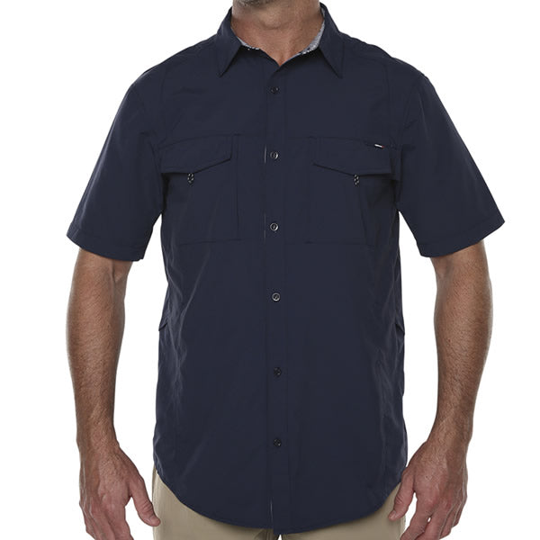 Vigilante Men's Lupton II Short Sleeve Travel Adventure Shirt Mood Indigo front view in use