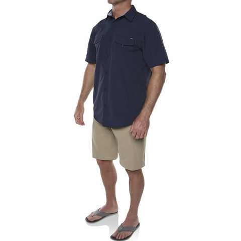 Vigilante Men's Lupton II Short Sleeve Travel Adventure Shirt Mood Indigo in use side view