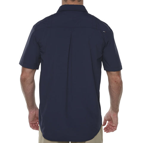 Vigilante Men's Lupton II Short Sleeve Travel Adventure Shirt Mood Indigo  rear view in use