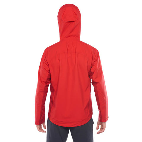 Westcomb Shift LT Hoody Hardshell 3 Layer Jacket with hood over helmet rear view