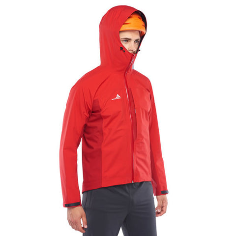 Westcomb Shift LT Hoody Hardshell 3 Layer Jacket with hood over helmet side view