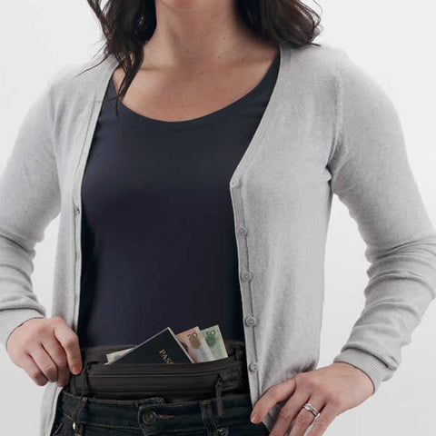 Eagle Creek Silk Undercover Money Belt in use