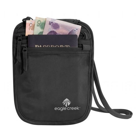 Eagle Creek Silk Undercover Neck Wallet with currency