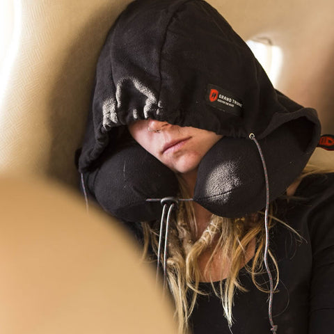 Grand Trunk Hooded Travel Pillow black in plane in use
