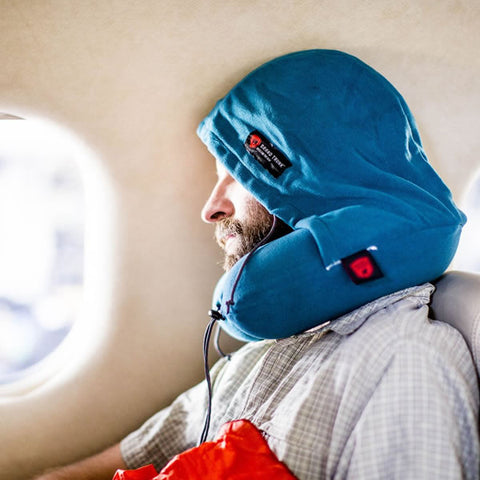 Grand Trunk Hooded Travel Pillow on plane in use