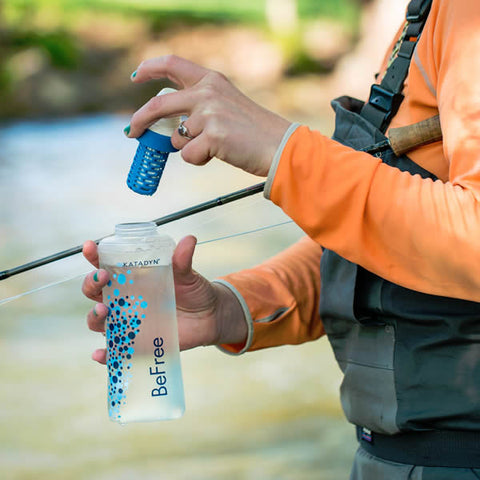 Katadyn Be Free Water Filtration Bottle in use fly fishing