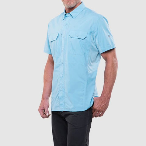 Kuhl Airspeed Men's Short-Sleeve Quick-Dry Travel Shirt sky blue side view