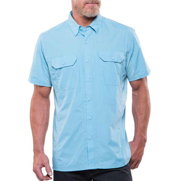 Kuhl Airspeed Men s Short-Sleeve Quick-Dry Travel Shirt Sky Blue Front view c3dcffc9a8e