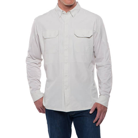 Kuhl Men's Long Sleeve Quick-Dry Travel Shirt Front View Natural Colour