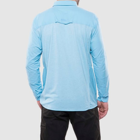 Kuhl Men's Long Sleeve Quick-Dry Travel Shirt rear view sky blue