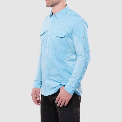 Kuhl Men's Long Sleeve Quick-Dry Travel Shirt side view sky blue