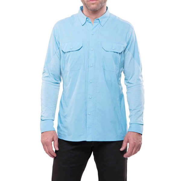 Kuhl Men's Long Sleeve Quick-Dry Travel Shirt front view sky blue