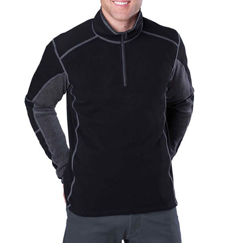 Kuhl Revel Men's 1/4 Zip Fleece Top Pullover Black Steel Front View