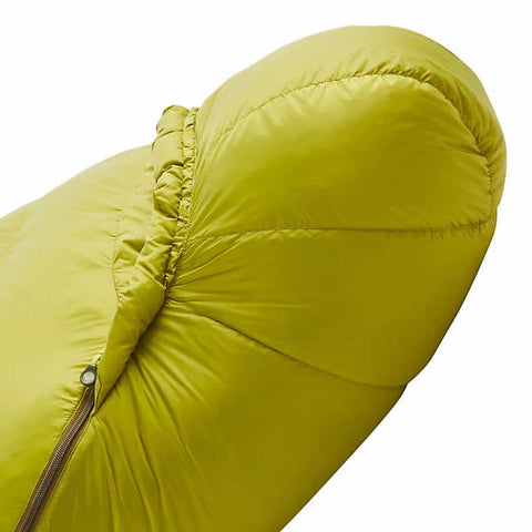 Marmot Hydrogen -1 Degree C Down Sleeping Bag Full view Dark Citrus Olive hood side view