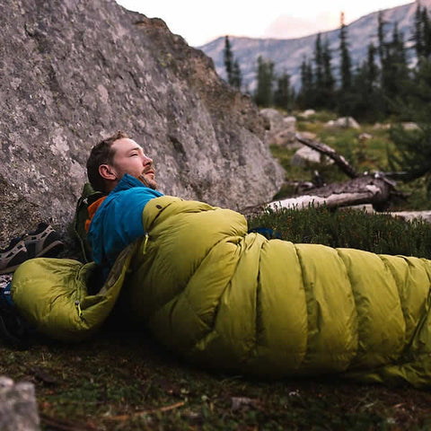 Marmot Hydrogen -1 Degree C Down Sleeping Bag Full view Dark Citrus Olive in use