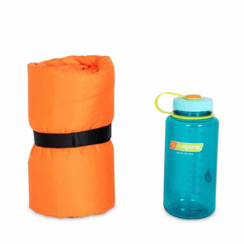 Nemo Flyer Self Inflating Hike Camp Sleeping Mat Long Wide packed next to water bottle