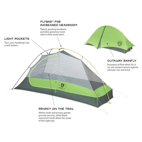 Nemo Hornet 1 Person Ultralight Hiking Tent features