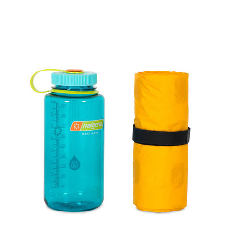 Nemo Tensor Insulated Ultralight Sleeping Mat Regular packed away next to nalgene bottle