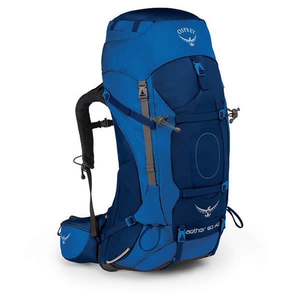 Osprey Aether AG 60 Litre Hiking Mountaineering Backpack neptune blue